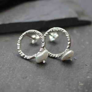 Silver and pearl hammer circle studs
