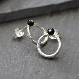 Silver and black onyx circle stud earrings