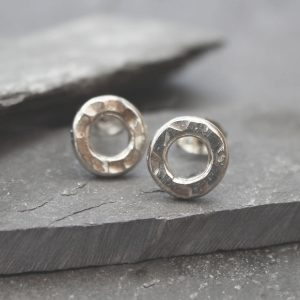 Silver hammered stud earrings